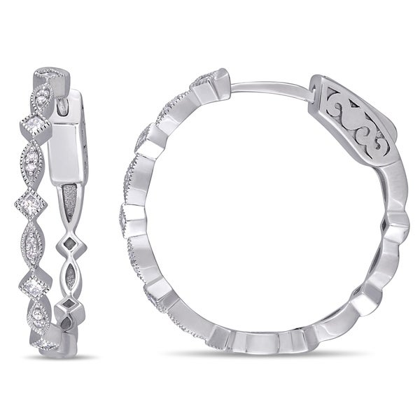 Miadora 10k White Gold 1/4ct TDW Round and Princess-Cut Diamond Infinity Hoop Earrings. Opens flyout.