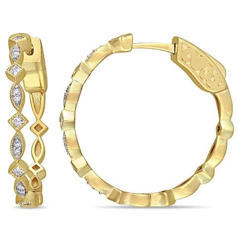 Miadora 10k Yellow Gold 1/4ct TDW Round and Princess-Cut Diamond Infinity Hoop Earrings
