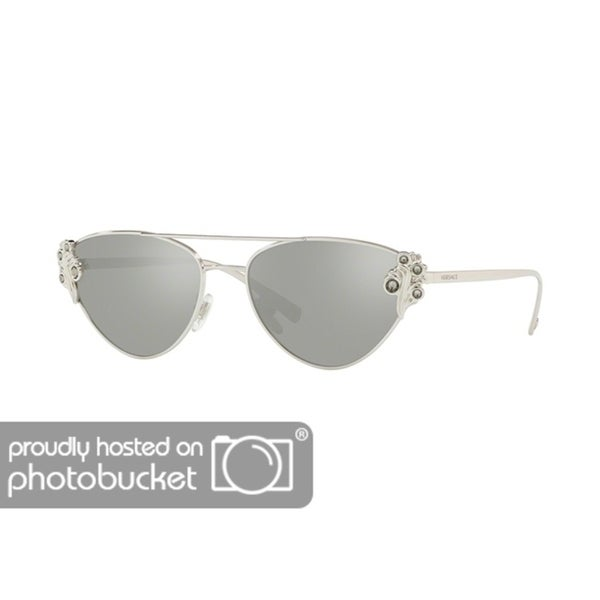 54fc1c315915 Shop Versace VE2195B Woman Silver Frame Light Grey Mirror Silver Lens  Sunglasses - Free Shipping Today - Overstock - 25416766
