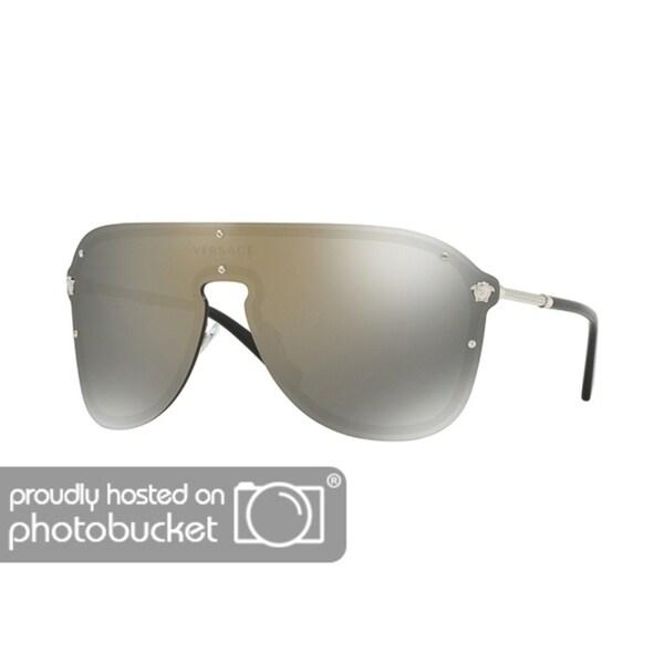 a74f0b68f73f Versace Women  x27 s VE2180 Silvertone Frame Sunglasses with Dark Grey  Mirror Goldtone Lens