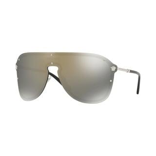 Versace VE2180 Woman Silver Frame Dark Grey Mirror Gold Lens Sunglasses
