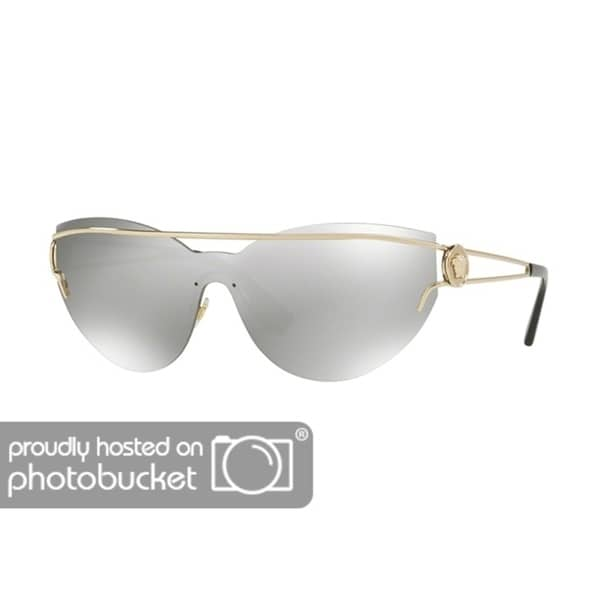 5d5dd385756a Shop Versace VE2186 Woman Pale Gold Frame Light Grey Mirror Silver Lens  Sunglasses - Free Shipping Today - Overstock - 25416775