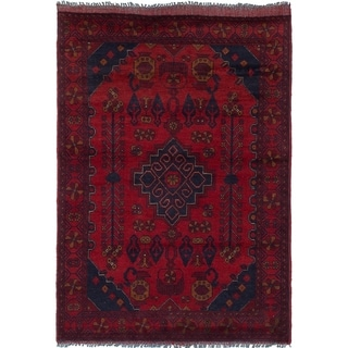 ECARPETGALLERY  Hand-knotted Finest Khal Mohammadi Red Wool Rug - 3'6 x 5'3