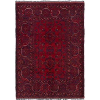 ECARPETGALLERY  Hand-knotted Finest Khal Mohammadi Red Wool Rug - 3'5 x 4'10