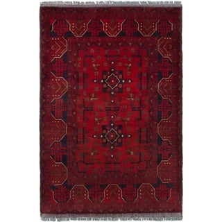 ECARPETGALLERY  Hand-knotted Finest Khal Mohammadi Red Wool Rug - 3'5 x 4'11