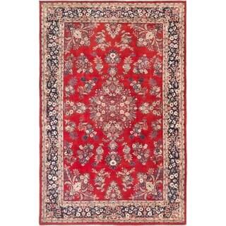 ECARPETGALLERY  Hand-knotted Royal Sarough Dark Red Wool Rug - 5'10 x 9'0