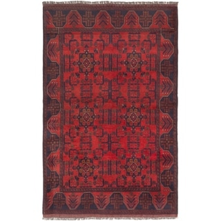 ECARPETGALLERY  Hand-knotted Finest Khal Mohammadi Dark Red Wool Rug - 4'1 x 6'4