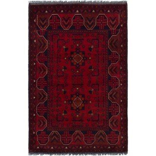 ECARPETGALLERY  Hand-knotted Finest Khal Mohammadi Red Wool Rug - 3'4 x 5'1