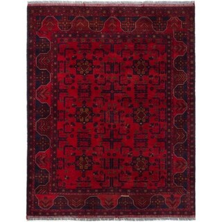 ECARPETGALLERY  Hand-knotted Finest Khal Mohammadi Red Wool Rug - 4'11 x 6'3