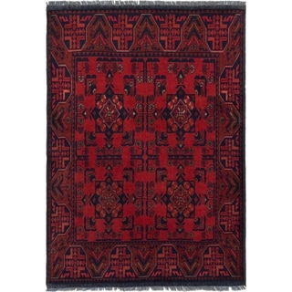 ECARPETGALLERY  Hand-knotted Finest Khal Mohammadi Red Wool Rug - 3'4 x 4'8