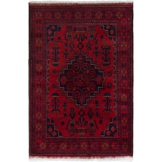 ECARPETGALLERY  Hand-knotted Finest Khal Mohammadi Red Wool Rug - 3'4 x 4'10