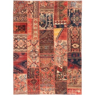 ECARPETGALLERY  Hand-knotted Vintage Anatolia Patch Red Wool Rug - 5'3 x 7'0