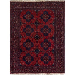 ECARPETGALLERY  Hand-knotted Finest Khal Mohammadi Red Wool Rug - 3'6 x 4'8
