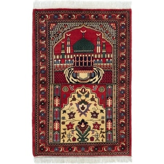 ECARPETGALLERY  Hand-knotted Finest Kargahi Red Wool Rug - 2'10 x 4'0