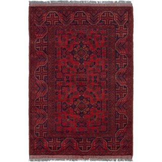 ECARPETGALLERY  Hand-knotted Finest Khal Mohammadi Red Wool Rug - 3'3 X 4'11