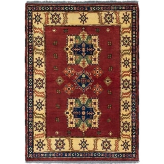 ECARPETGALLERY  Hand-knotted Finest Kargahi Dark Red Wool Rug - 3'4 x 4'9