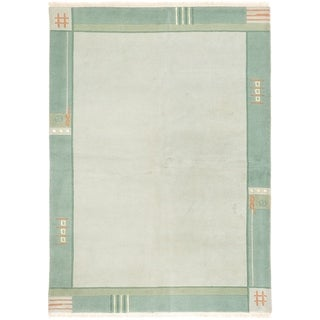 ECARPETGALLERY  Hand-knotted Karma Light Grey Wool Rug - 5'9 x 7'11