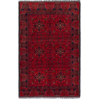 ECARPETGALLERY  Hand-knotted Finest Khal Mohammadi Red Wool Rug - 4'2 x 6'5
