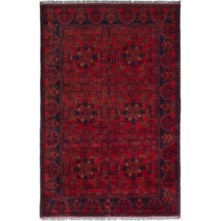 ECARPETGALLERY  Hand-knotted Finest Khal Mohammadi Red Wool Rug - 4'0 x 6'5