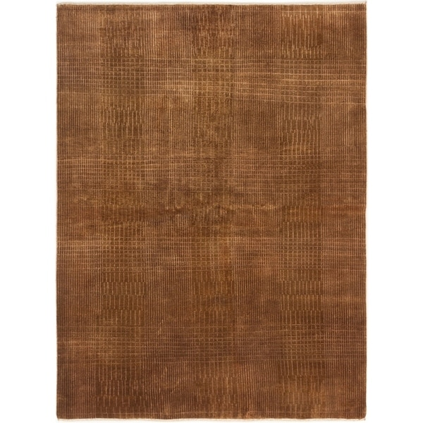 ECARPETGALLERY Hand-knotted Luribaft Gabbeh Riz Brown Wool Rug - 5'8 x 7'8