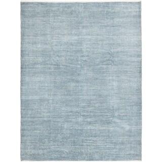 ECARPETGALLERY Hand-knotted Finest Ushak Light Blue , Navy Blue Silk, Wool Rug - 8'0 x 10'5