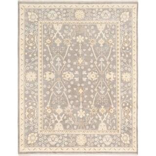 ECARPETGALLERY  Hand-knotted Finest Ushak Dark Grey Wool Rug - 8'0 x 10'0