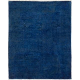 ECARPETGALLERY Hand-knotted Color transition Dark Blue Wool Rug - 8'0 x 9'10