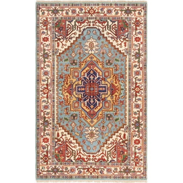 ECARPETGALLERY Hand-knotted Serapi Heritage Light Blue Wool Rug - 5'0 x 7'10