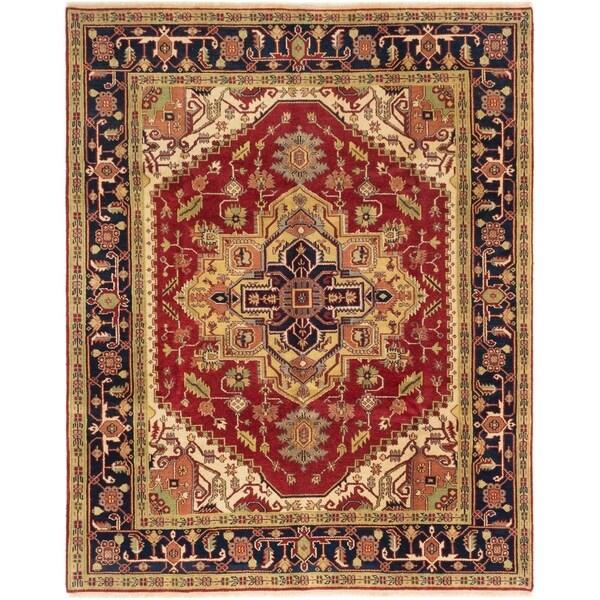 ECARPETGALLERY Hand-knotted Serapi Heritage Dark Red Wool Rug - 8'0 x 10'0