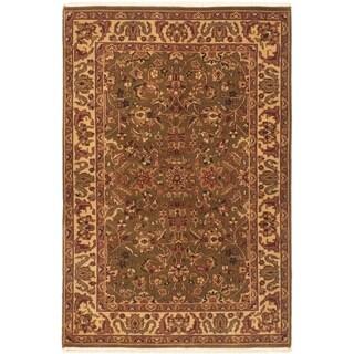 ECARPETGALLERY  Hand-knotted Sultanabad Dark Green Wool Rug - 4'0 x 6'2