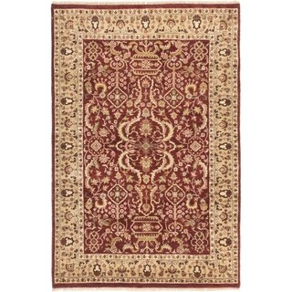 ECARPETGALLERY  Hand-knotted Jamshidpour Dark Red Wool Rug - 4'2 x 6'1