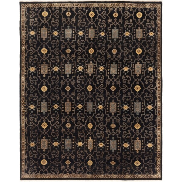 ECARPETGALLERY Hand-knotted Ikat Royale Black Wool Rug - 7'8 x 10'0