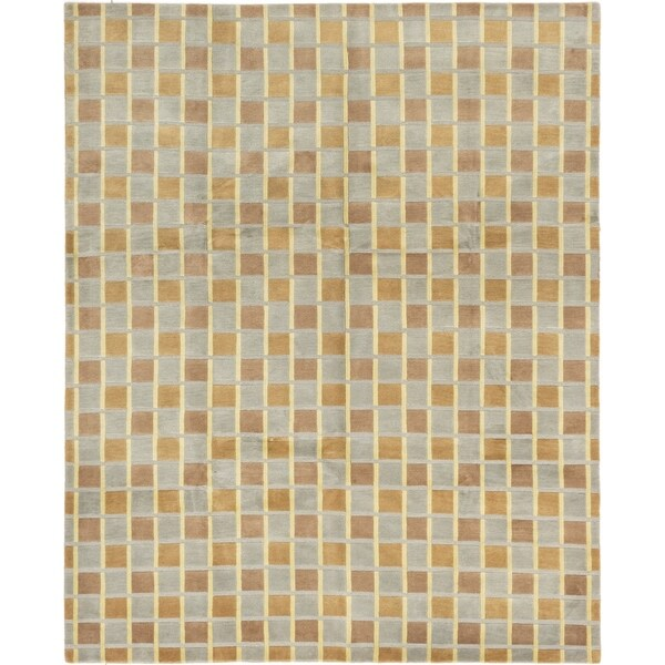 ECARPETGALLERY Hand-knotted Aurora Brown, Grey Wool Rug - 7'10 x 9'3