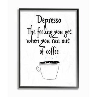 The Stupell Home Decor Collection Black and White Depresso Funny Typography Framed Wall Art, 11x14, Proudly Made in USA