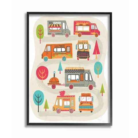 The Kids Room By Stupell Mod Quirky Food Trucks And Trees Framed Wall Art, 11x14, Proudly Made in USA - Multi-color