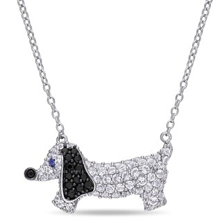 Miadora Sterling Silver Created Blue and White Sapphire Black Spinel Dog Necklace