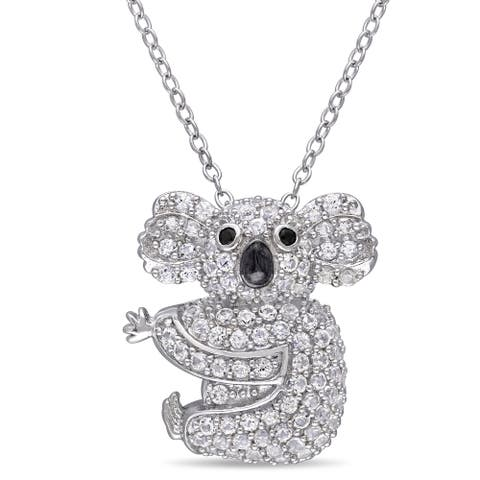 Miadora Sterling Silver Created White Sapphire Black Spinel Koala Necklace