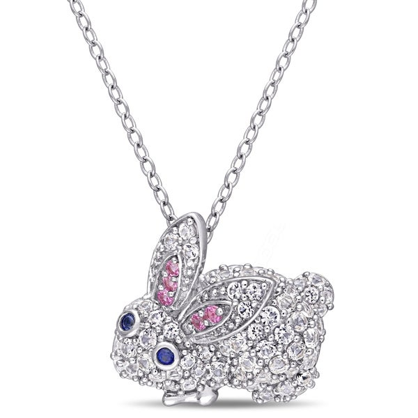 Sterling Silver CZ Bunny 18 Inch Necklace