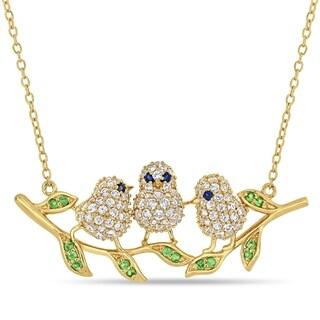 Miadora Yellow Plated Sterling Silver with Black Rhodium Multi-Gemstone 3-Bird Branch Necklace