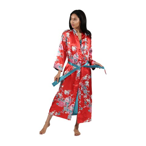 La Cera Butterfly Floral Reversible Satin Wrap Robe