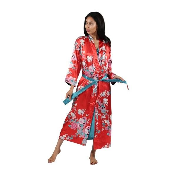 La Cera Butterfly Floral Reversible Satin Wrap Robe