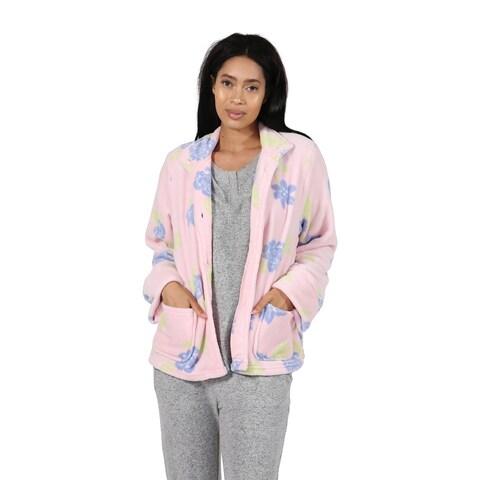 La Cera Multi Floral Fleece Lounge Jacket