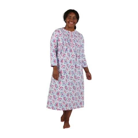 La Cera Wildflower Print Plus Size Flannel Nightgown
