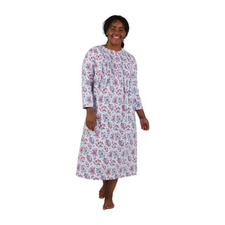 La Cera Wildflower Print Plus Size Flannel Nightgown