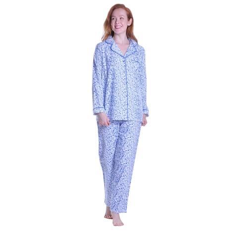 La Cera Forget Me Not Print Flannel Pajama
