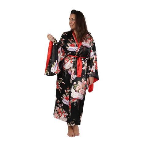La Cera Kimono Style Reversible Wrap Robe