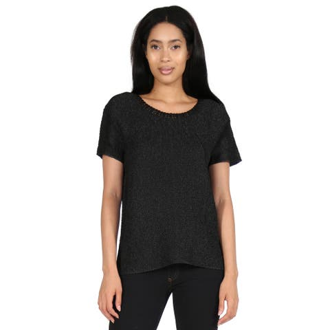 La Cera Cap Sleeve Pleated Poly Tee