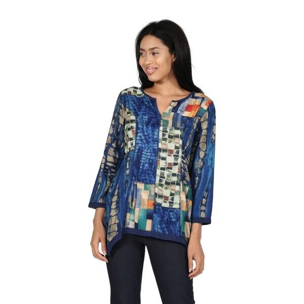 La Cera Printed Rayon Patchwork Tunic