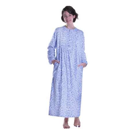 bb4c7720bf90 La Cera Forget Me Not Printed Flannel Nightgown