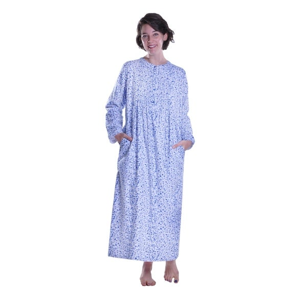 La Cera Forget Me Not Printed Flannel Nightgown